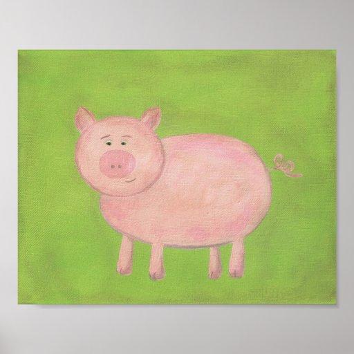Arte del cuarto de niños del cerdo de la póster
