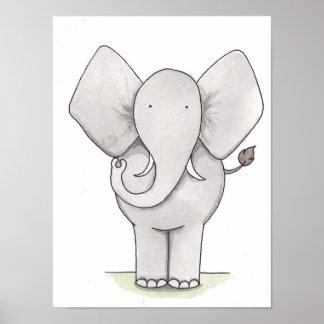 Arte del cuarto de niños del elefante poster