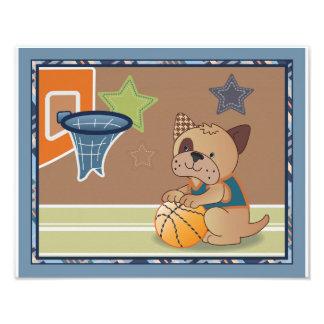 Arte del cuarto de niños del perro del baloncesto cojinete