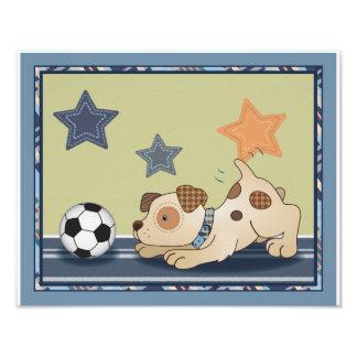 Arte del cuarto de niños del perro del fútbol de fotografías