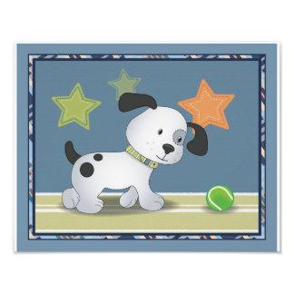 Arte del cuarto de niños del perro del tenis de cojinete