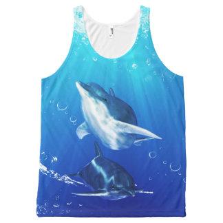 Arte del delfín por todo el tanque unisex impreso