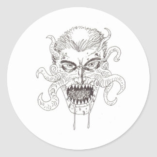 Arte del demonio pegatina redonda