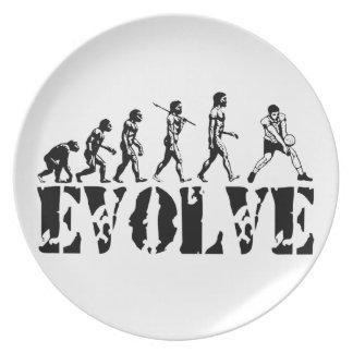 Arte del deporte de la evolución del jugador de la plato para fiesta