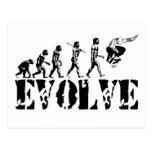 Arte del deporte de la evolución del monopatín que postales