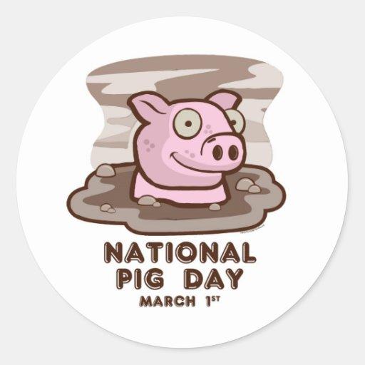 arte del día del cerdo del zazzle pegatina redonda