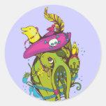 Arte del dibujo animado de la fantasía de las pegatina redonda