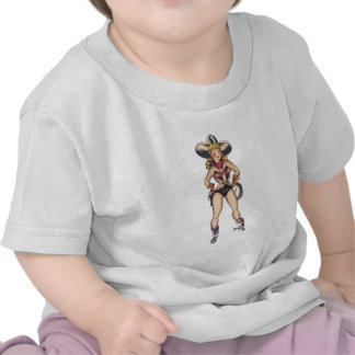 Arte del dibujo animado de la vaquera camiseta