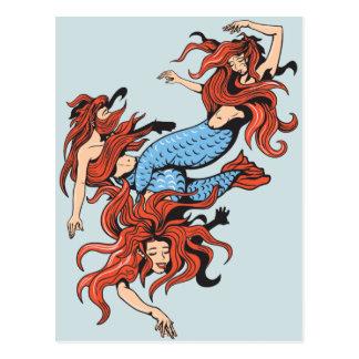 arte del dibujo animado del vector de tres sirenas postal