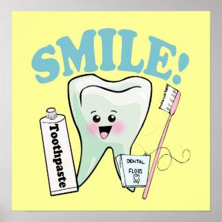 Arte del diente de Kawaii de la sonrisa Póster