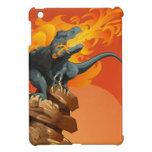 Arte del dinosaurio de la llama que lanza por las