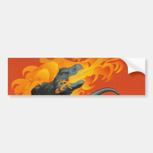 Arte del dinosaurio de la llama que lanza por las  pegatina de parachoque