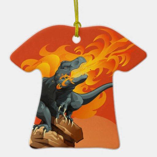 Arte del dinosaurio de la llama que lanza por las ornamento de navidad