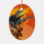 Arte del dinosaurio de la llama que lanza por las adorno para reyes