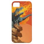 Arte del dinosaurio de la llama que lanza por las  iPhone 5 protectores