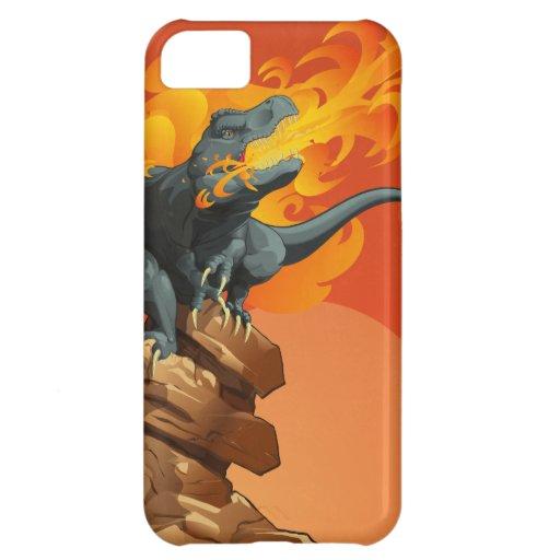 Arte del dinosaurio de la llama que lanza por las funda para iPhone 5C