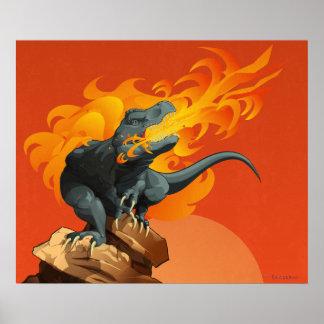Arte del dinosaurio de la llama que lanza por las posters