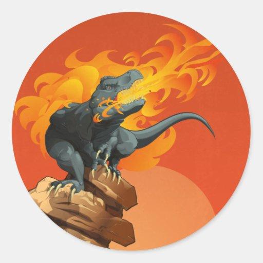 Arte del dinosaurio de la llama que lanza por las pegatina redonda