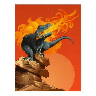 Arte del dinosaurio de la llama que lanza por las  postal