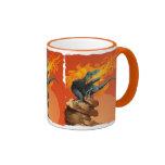 Arte del dinosaurio de la llama que lanza por las  tazas de café