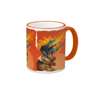 Arte del dinosaurio de la llama que lanza por las taza de dos colores