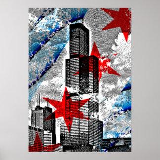 Arte del diseño de la bandera del horizonte de póster