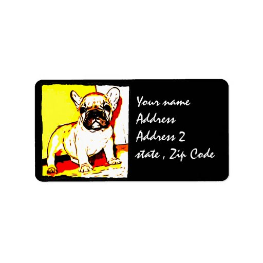 Arte del dogo francés etiqueta de dirección