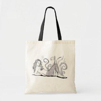 Arte del Doodle de la sirena del tote de la playa  Bolsa Tela Barata
