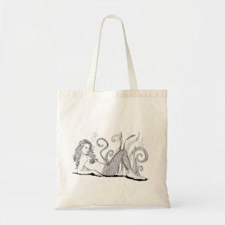 Arte del Doodle de la sirena del tote de la revist Bolsa Tela Barata
