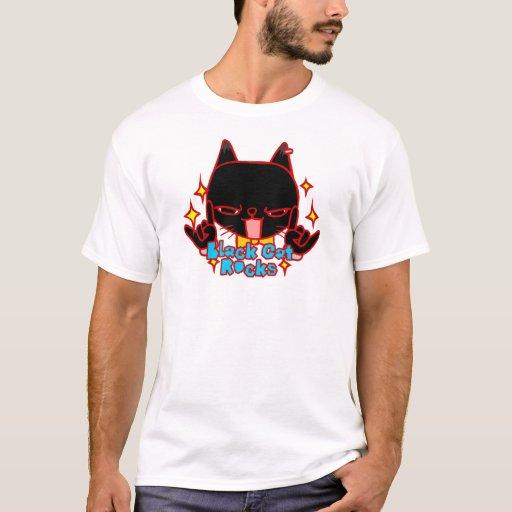 Arte del Doodle de las rocas del gato negro Playera