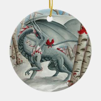 Arte del dragón, arte de la fantasía, señora del adorno navideño redondo de cerámica