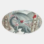 Arte del dragón, arte de la fantasía, señora del b pegatina de óval