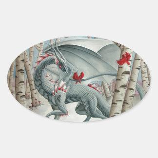 Arte del dragón, arte de la fantasía, señora del pegatina ovalada