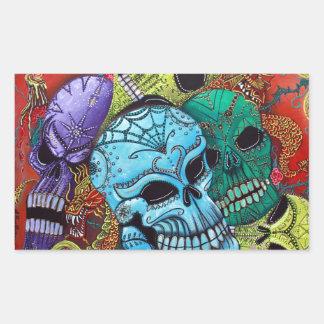 Arte del dragón del cráneo del azúcar pegatina rectangular