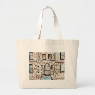 Arte del edificio de la ciudad bolsa tela grande
