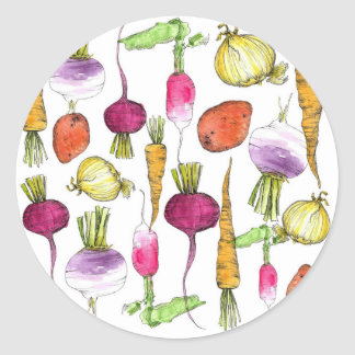 Arte del ejemplo de la acuarela de la verdura de pegatina redonda