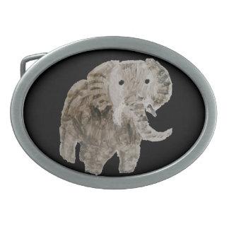 Arte del elefante del animal salvaje hebillas de cinturon ovales