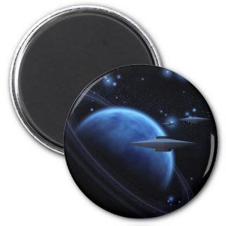 Arte del espacio cerca del gigante de gas imán redondo 5 cm