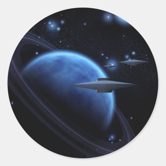 Arte del espacio cerca del gigante de gas pegatina redonda