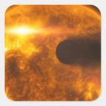 Arte del espacio de la estrella de Exoplanet de la Pegatinas Cuadradas Personalizadas