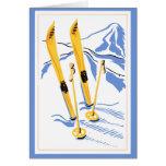 Arte del esquí del vintage felicitaciones