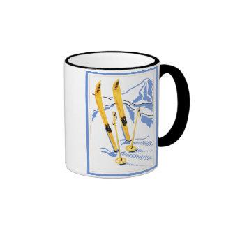 Arte del esquí del vintage taza de café