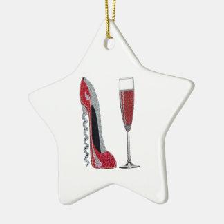 Arte del estilete rojo del sacacorchos y del vino adorno navideño de cerámica en forma de estrella