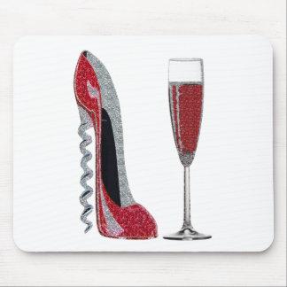 Arte del estilete rojo del sacacorchos y del vino  tapete de ratón