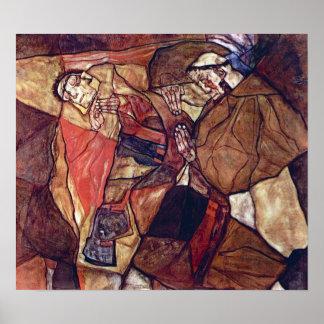 Arte del expresionismo del vintage, agonía de Egon Póster