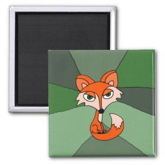 Arte del Fox rojo Imán Cuadrado