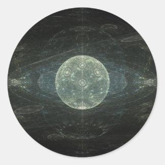 """""""Arte del fractal de la estación de la luna"""" Pegatina Redonda"""