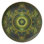 """""""Arte del fractal de la rueda de Magick de Metatro Plato De Comida"""