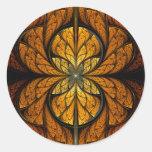Arte del fractal de las plumas que brilla intensam pegatinas redondas