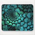 Arte del fractal de los corazones de la turquesa q tapetes de ratón